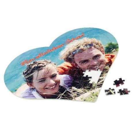 Puzzles coeur cartonnés sans cadre personnalisé