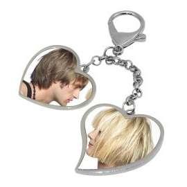 porte clé double coeur a chaine personnalisé