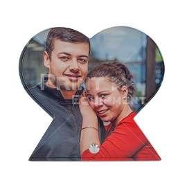 Acrylique coeur avec baguette en aluminium pour présentation, taille 150 x 150 x 15 mm