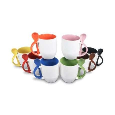 Tasse & cuillère colorées, produit à personnaliser
