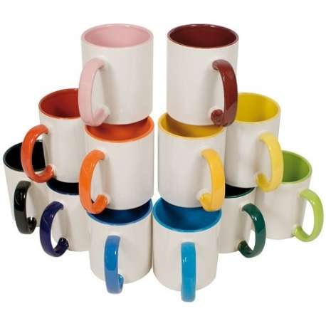 Tasse en céramique TWO TONES & HANDLE 11oz NN, diverses couleurs
